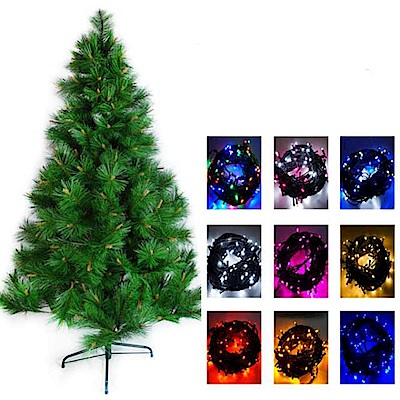 摩達客 8尺特級綠松針葉聖誕樹(不含飾品)+100LED燈4串附控制器