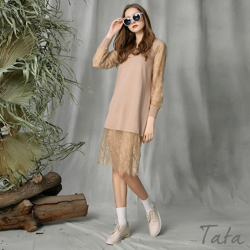 針織拼接蕾絲洋裝 共二色 TATA-(M~XL) (卡其)