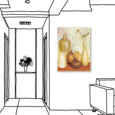 24mama掛畫-單聯式 花卉 古樸花瓶 無框畫 大型掛畫 60X80cm-靜謐的下午