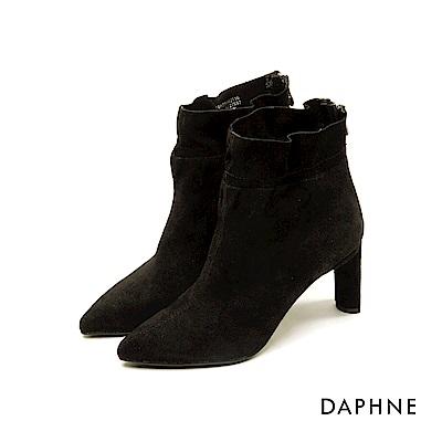 達芙妮DAPHNE 短靴-原色皺摺靴筒尖頭粗跟短靴-黑