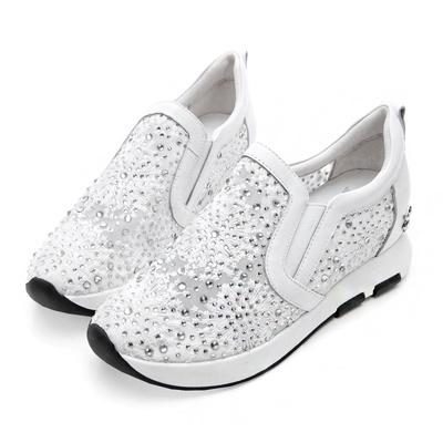 PLAYBOY韓系浪漫 蕾絲透膚內增高休閒鞋-白