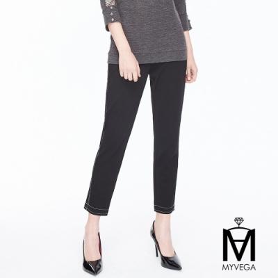 麥雪爾 MA高棉質車線造型彈性九分褲-黑