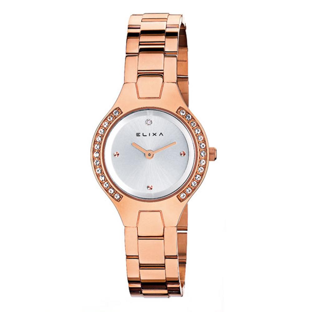 ELIXA BEAUTY晶鑽錶面簡約刻度 金屬玫瑰金錶帶29mm