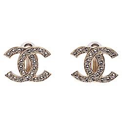 CHANEL 經典大雙C LOGO水鑽鑲飾造型夾式耳環(金)