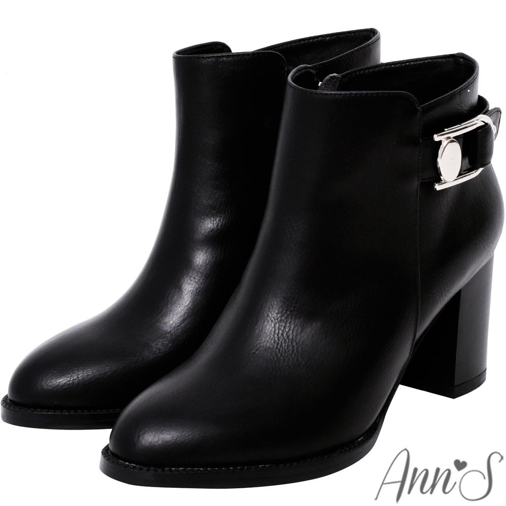 Ann'S時尚選品-前高後低金釦粗跟短靴-黑