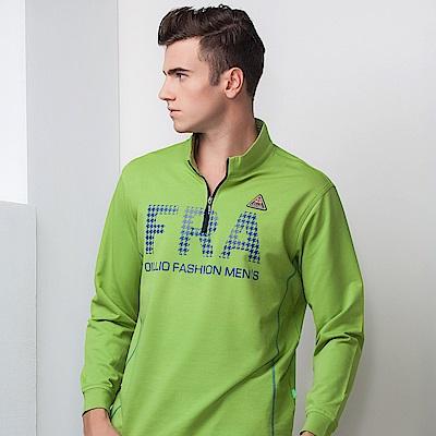 歐洲貴族oillio 長袖T恤 立領拉鍊 FRA印花 綠色