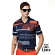 【Lynx Golf】男款吸濕排汗小網眼條紋山貓繡花短袖POLO衫-深藍色 product thumbnail 2