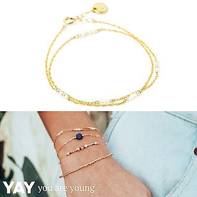 YAY You Are Young 法國品牌 Riviera 白色珍珠手鍊 金色雙層款