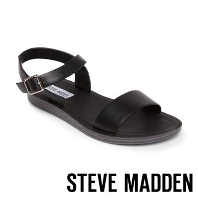 STEVE MADDEN-LEAGUE 搶眼一字帶繫帶低跟涼鞋-黑色