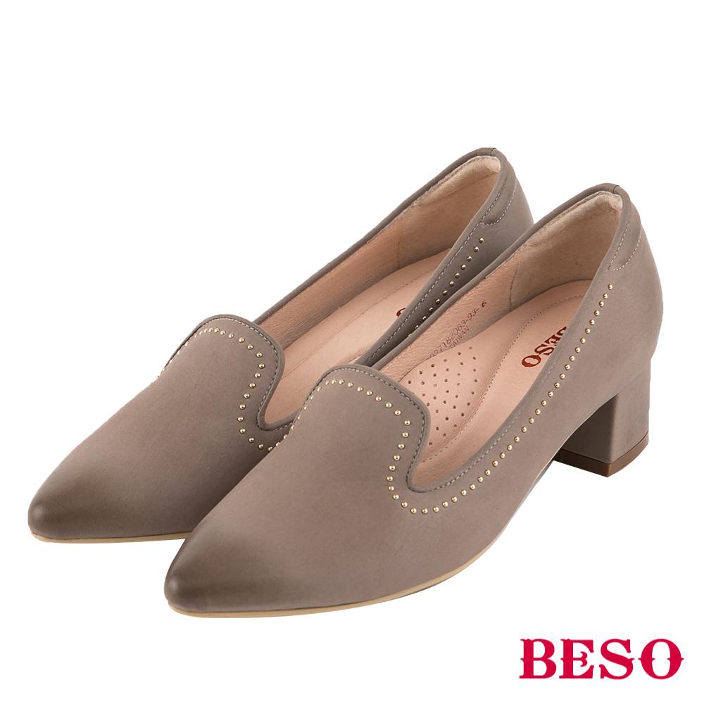 BESO 個性品味 鉚釘尖頭樂福粗跟鞋~灰