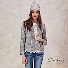 OUWEY歐薇 翻色格紋鬚邊門襟雙排扣西裝外套(藍)