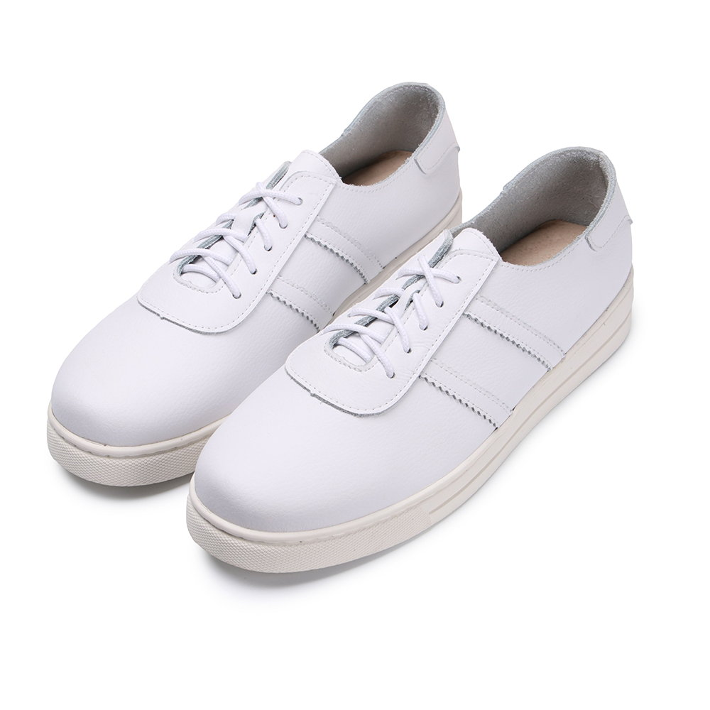 BuyGlasses 真皮雙線綁帶男款休閒鞋-白