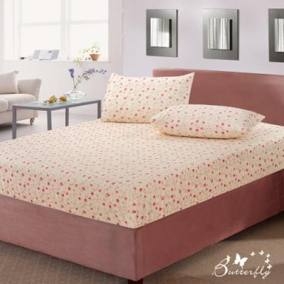 BUTTERFLY-台製40支紗純棉-薄式加大雙人床包枕套三件組-碎花戀-白