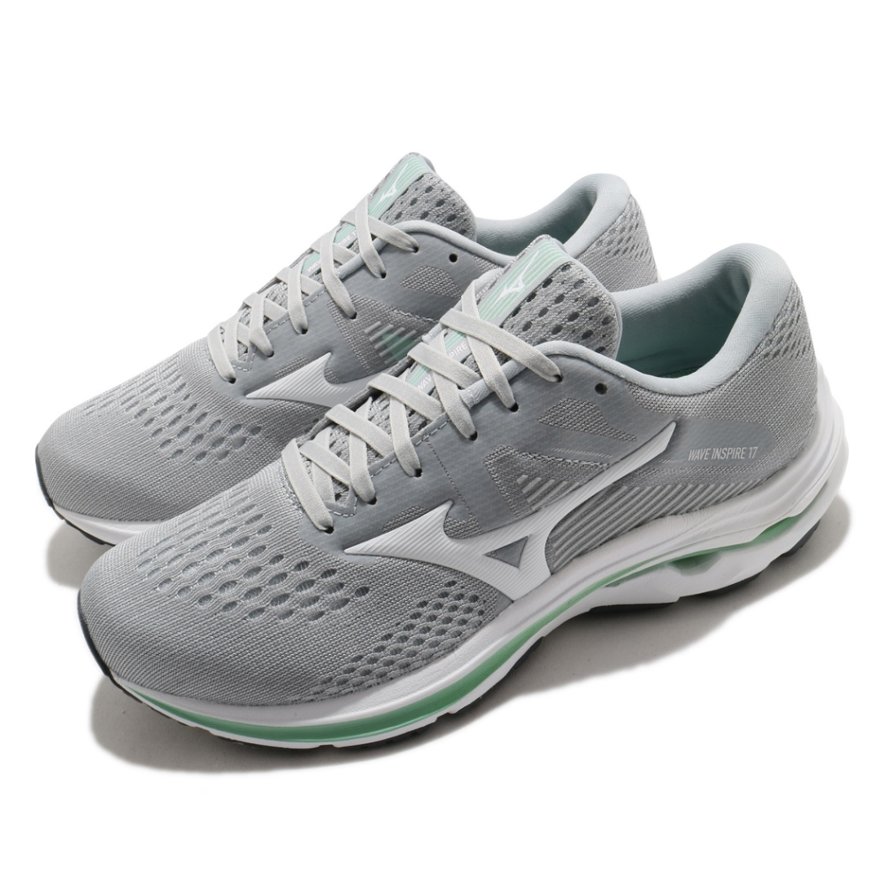 Mizuno 慢跑鞋 Wave Inspire 17 寬楦 女鞋 美津濃 路跑 緩震科技 透氣 灰 綠 J1GD214601