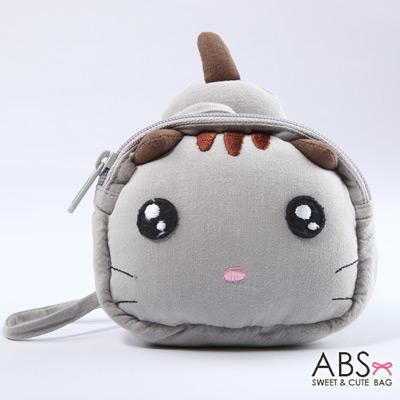 ABS貝斯貓 饅頭貓 可愛拼布拉鏈零錢包(典雅灰)88-124