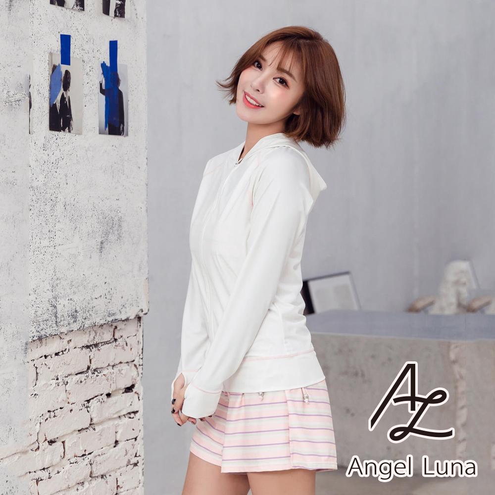 【AngelLuna日本泳裝】粉色條紋印花水母衣外套四件式泳衣