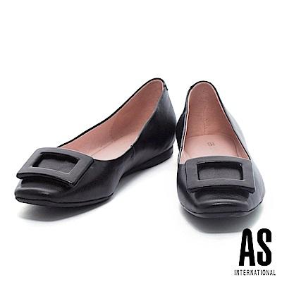 平底鞋 AS 都會知性方釦造型全真皮方頭平底鞋-黑