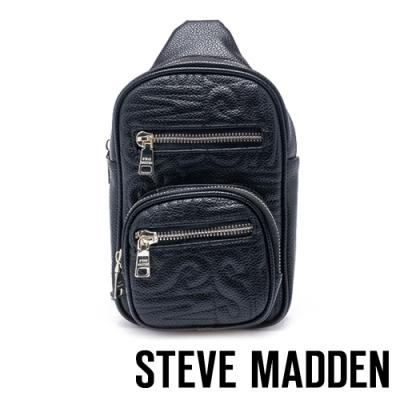 STEVE MADDEN-BDINAH 品牌LOGO壓紋潮流單肩背包-黑色