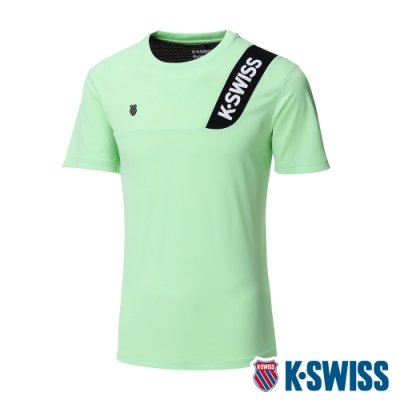 K-SWISS Contrast Panel Tee涼感排汗T恤-男-薄荷綠