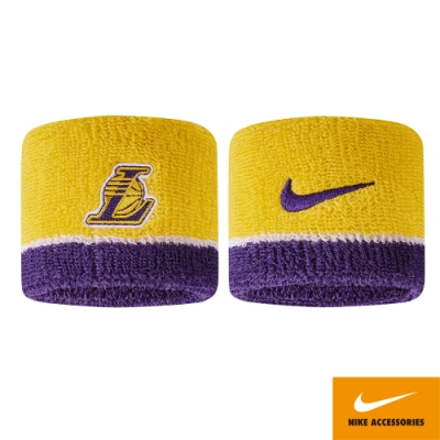 NIKE NBA 護腕 湖人  運動 健身 路跑 吸汗 黃紫 N1000536747OS