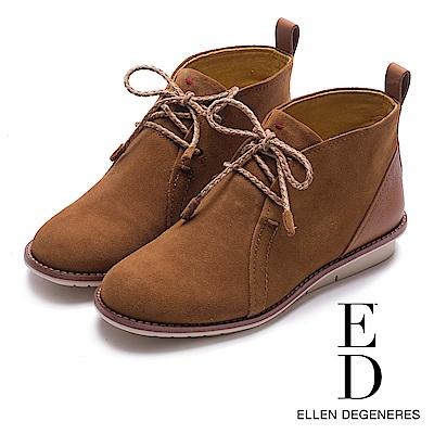 ED Ellen DeGeneres 森林系麂皮撞色短靴-絨棕