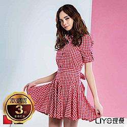 LIYO理優格紋綁帶襯衫洋裝(紅,黑)
