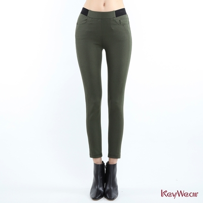 KeyWear奇威名品    發熱仿牛仔雙色緊身長褲-橄欖綠色