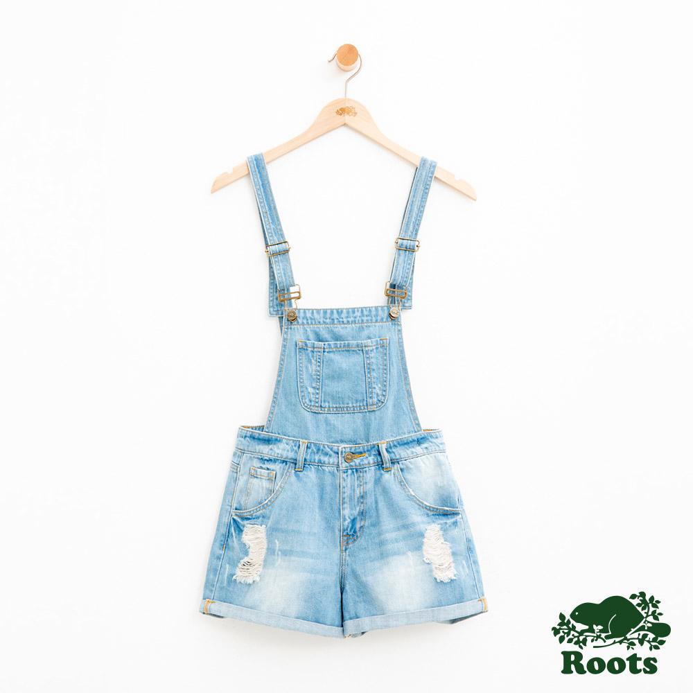 女裝Roots-DENIM - 吊帶短褲-藍