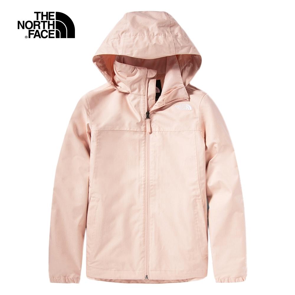The North Face北面女款粉色防水透氣連帽衝鋒衣|4N9VUBF