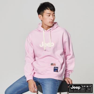 Jeep 男裝 簡約LOGO文字連帽T恤-粉色