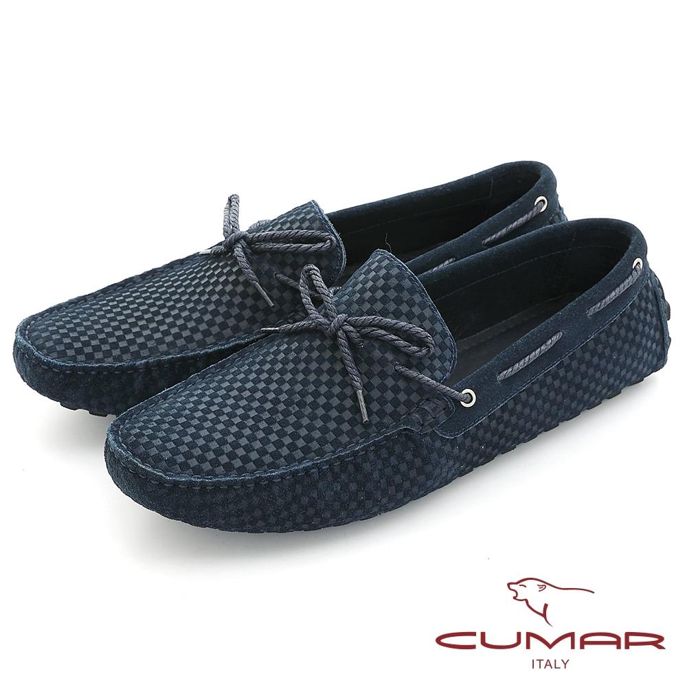 【CUMAR】時尚休閒 牛皮綁帶帆船鞋-藍
