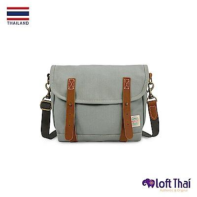Loft THAI | 泰.真皮帆布復古郵差包 | Grey