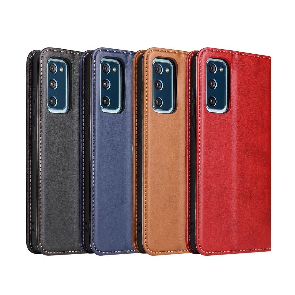 Fierre Shann 真皮紋 Samsung S20 FE (6.5吋) 磁吸側掀手工PU皮套