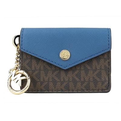 MK MICHAEL KORS JET SET防刮滿版鑰匙名片夾/零錢包-咖藍