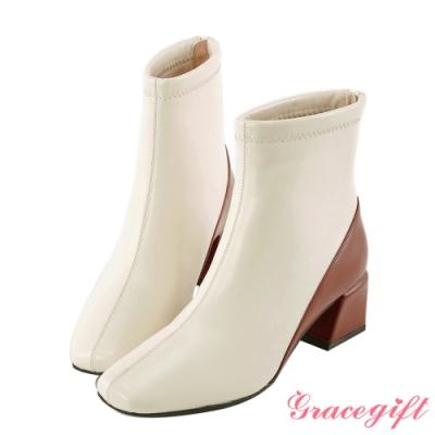 Grace gift-質感素面方頭短靴 白