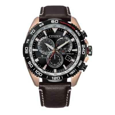 CITIZEN PROMASTER 光動能三眼腕錶CB5038-14E/-咖啡