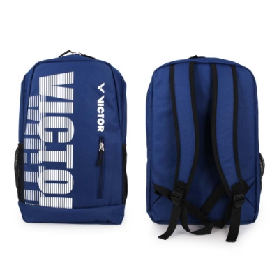 VICTOR 後背包-雙肩包 裝備袋 羽球 勝利 BR6013BA 深藍白