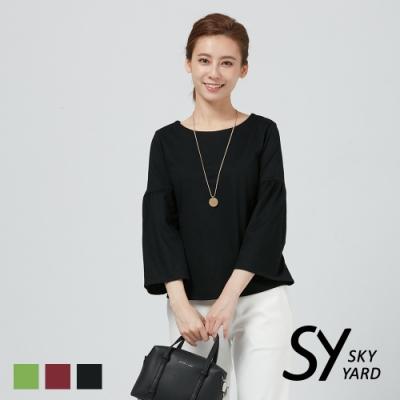 【SKY YARD 天空花園】素面荷葉袖造型上衣-黑色