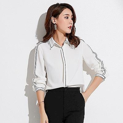摩登質感繡花包邊修身長袖襯衫S~XL-SZ