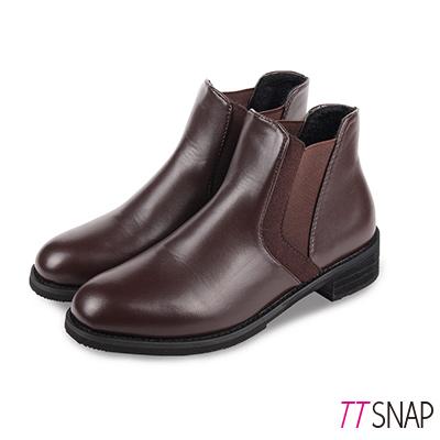 TTSNAP短靴-高貴率性紳士風格鬆緊中跟靴 棕