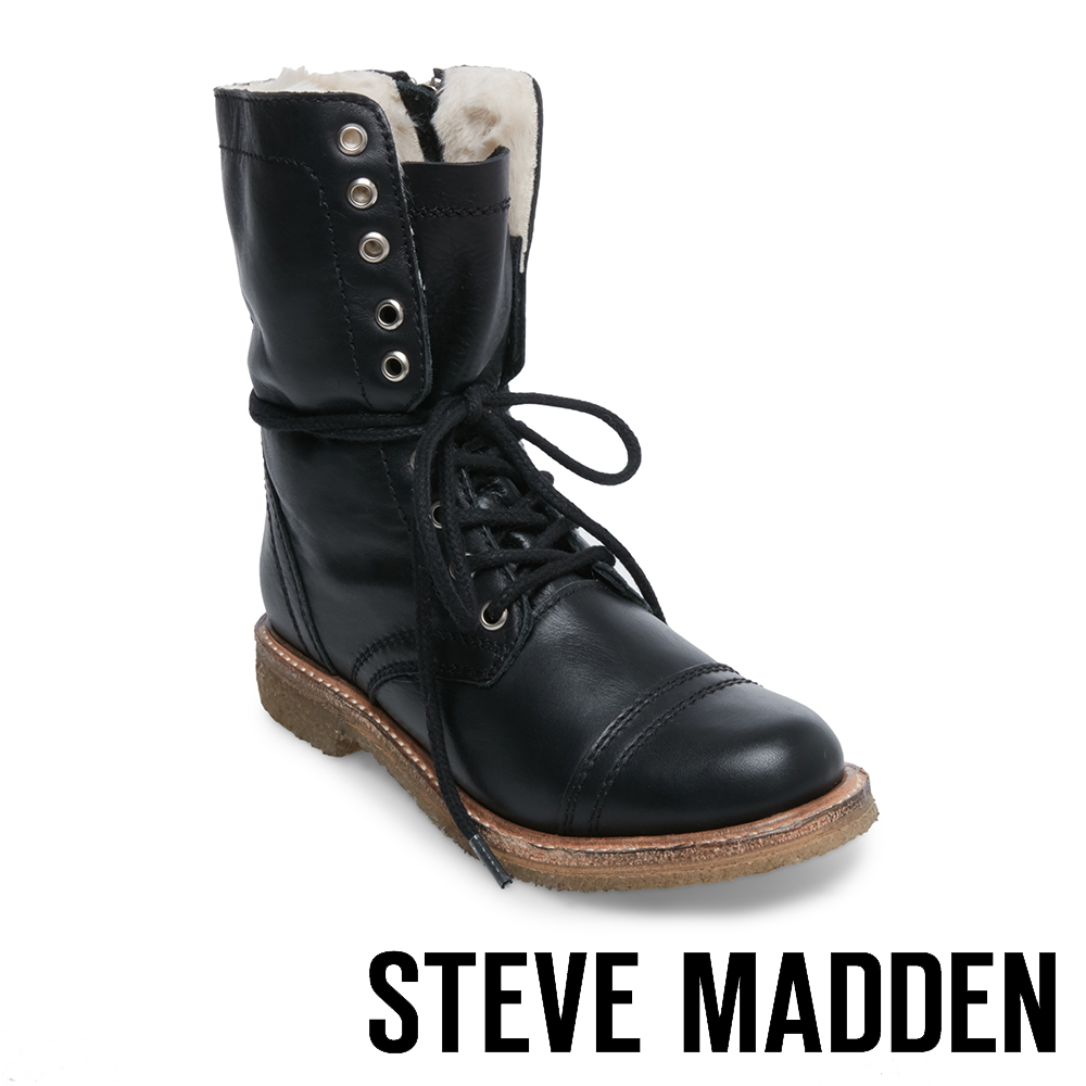 STEVE MADDEN-TOSSUP牛仔絨毛綁帶中筒靴-黑色