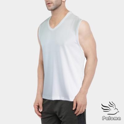 Paloma台灣製極涼感網眼排汗寬肩背心-白色 背心