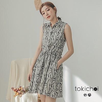 東京著衣 時尚現代感花紋腰綁帶襯衫洋裝-S.M.L(共兩色)