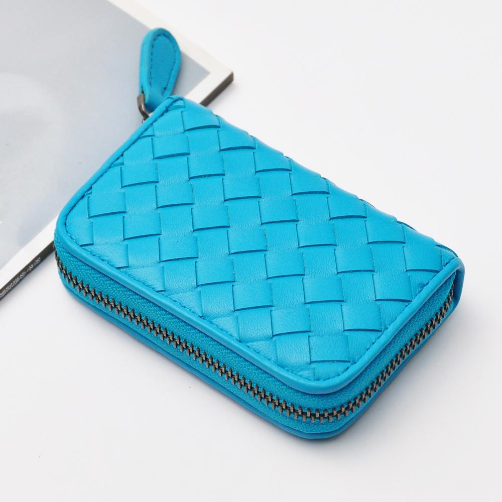 Yasmine進口羊皮手工編織拉鍊分層錢包(橄藍色)
