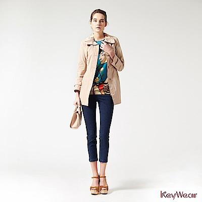 KeyWear奇威名品    韓國進口素材收腰修飾長袖外套-卡其色