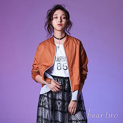 beartwo 時尚魅力蕾絲外罩圖騰Tshirt(二色)