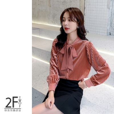 2F韓衣-韓系蝴蝶結領線條造型內毛絨上衣-粉色(S-2XL)