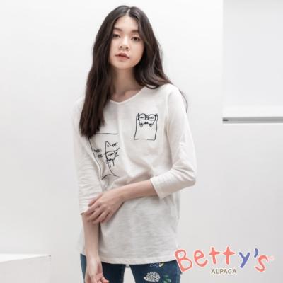 betty's貝蒂思 拼接材質動物繡線七分袖上衣(白色)