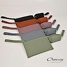 OUWEY歐薇 多色波浪造型零錢手拿包套組(黑/紫/水/綠/咖)