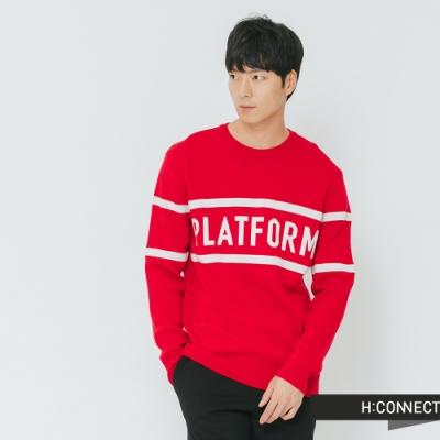 H:CONNECT 韓國品牌 男裝-標語線條針織上衣-紅(快)